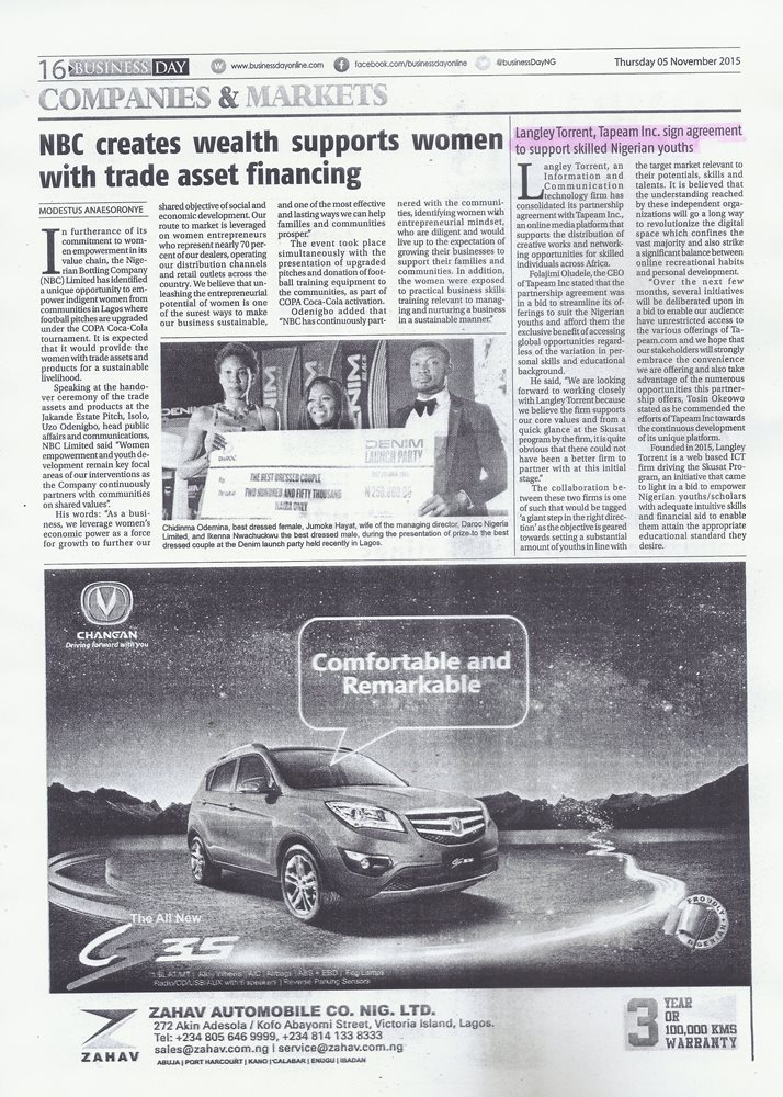 BUSINESSDAY - NOV. 5 - NEWS STORY